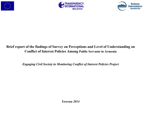 Brief report of the findings of Survey on Perceptions and Level of Understanding on Conflict of Interest Policies Among Public Servants in Armenia pic